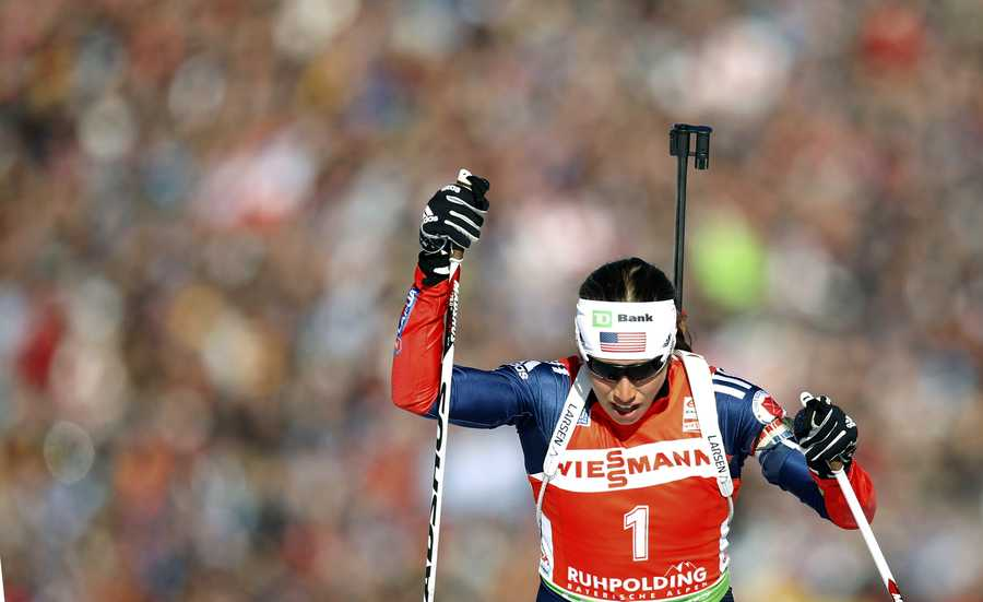 Susan Dunklee, of Barton, Vt., is competing in the biathlon.