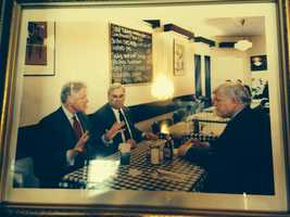 Menino pictured with then President Bill Clinton and Sen. Edward Kennedy. Menino said he paid for lunch because neither man had any money with him.