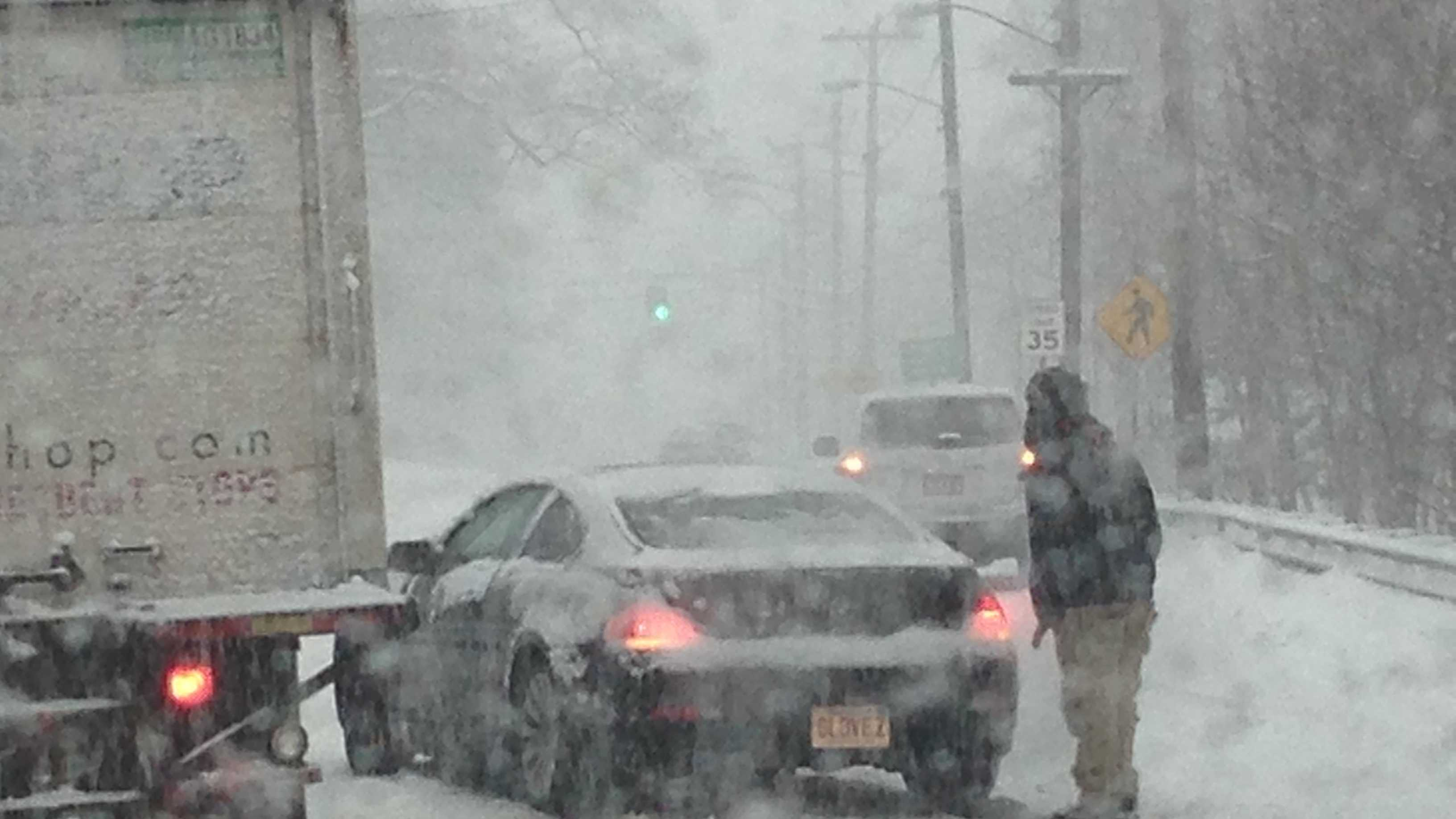 A car stuck on Route 28 South in Milton