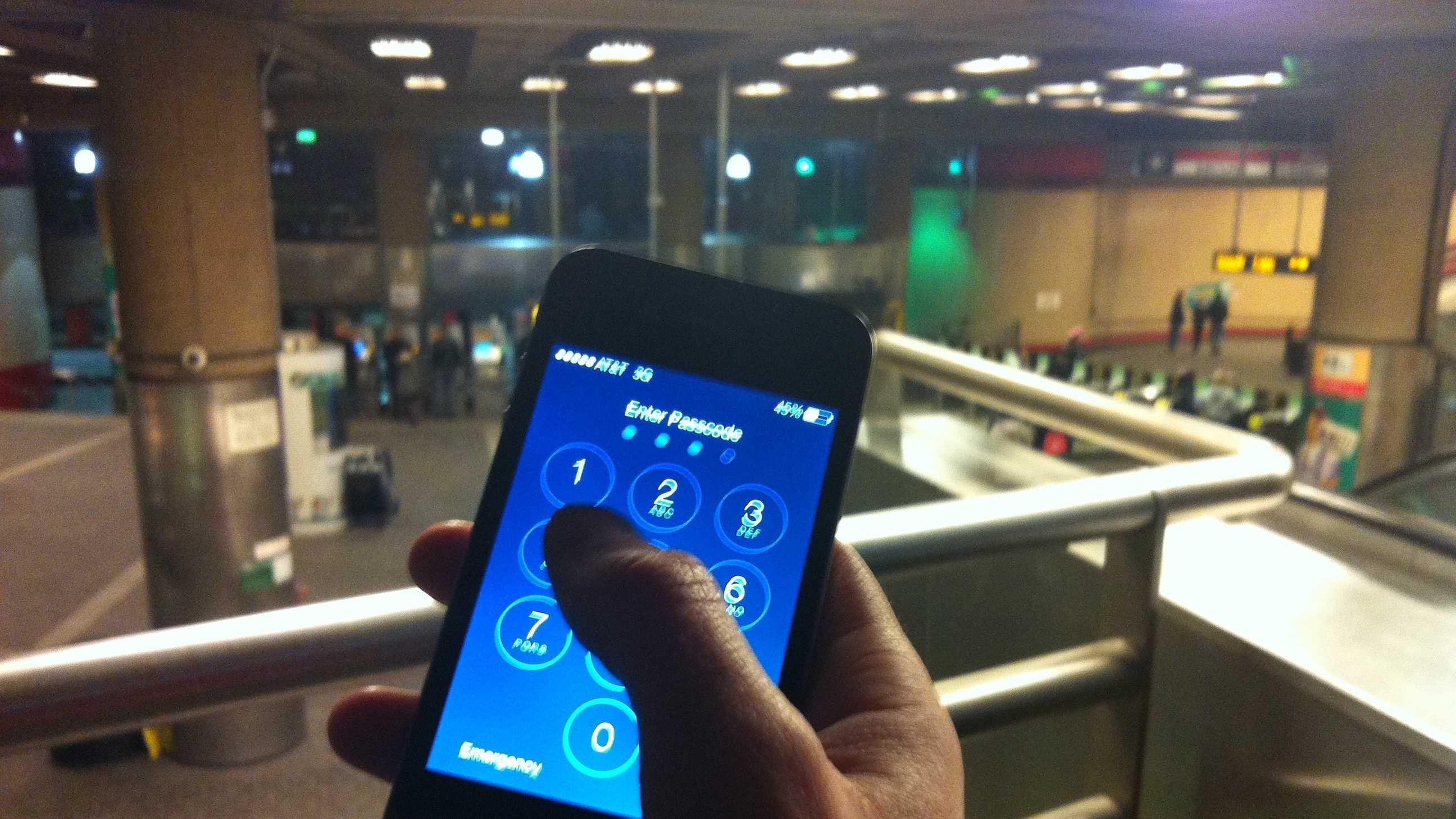 Smartphone at MBTA Station 020814