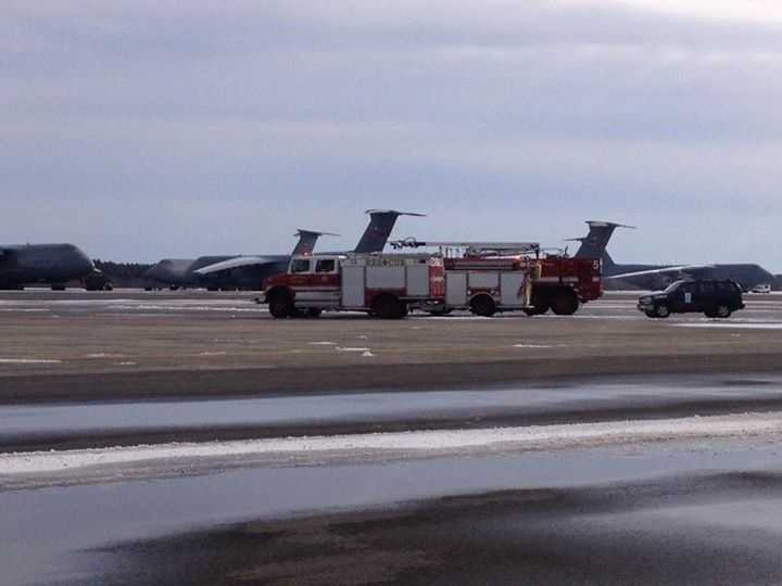 The Air Force Galaxy C-5 was carrying 25 crew and passengers when it lost pressurization at 34,000 feet at about 11 a.m., according to a statement from Westover Air Reserve Base in Chicopee.