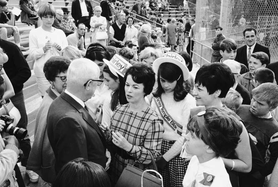 Mrs. Shirley Temple Black, on the campaign trial for the U.S. Senate, was the center of attention as she moved through a public park and talked with people of her district in San Mateo, California on Oct. 21, 1967.