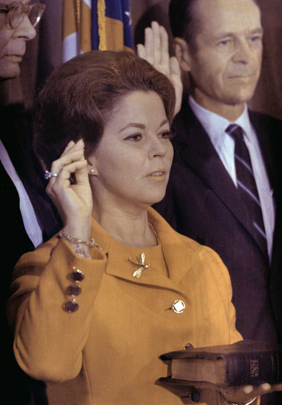 Shirley Temple Black is sworn in as a U.N. delegate, Sept. 15, 1969.