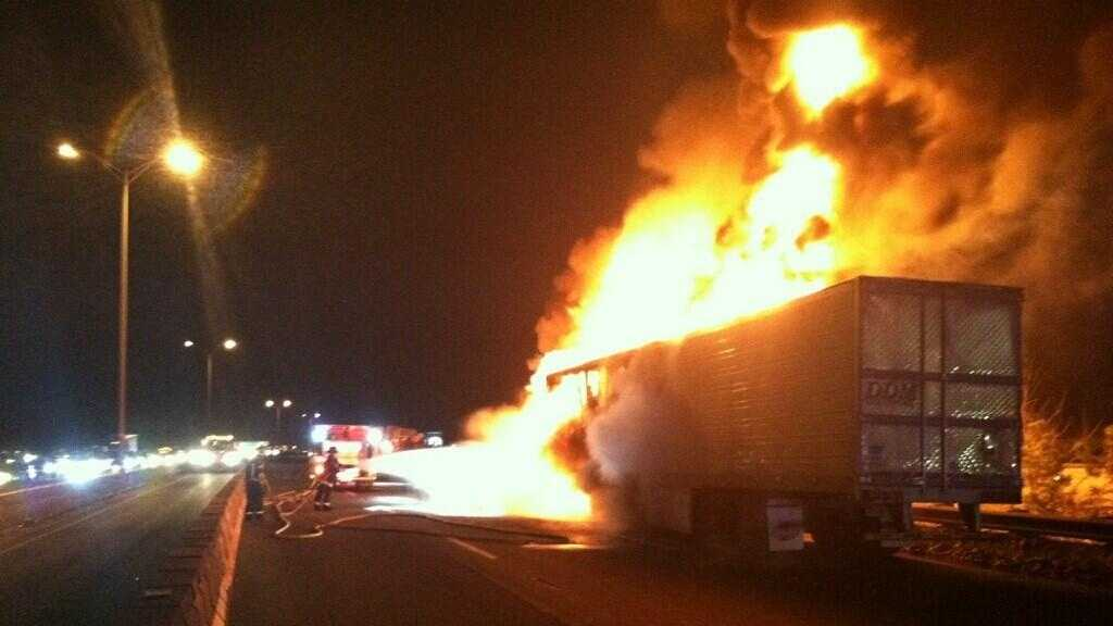 A truck caught on fire early Thursday on Route 3 in Dorchester.