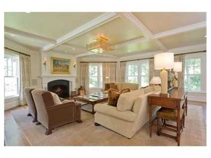 Family room with coffered ceiling.