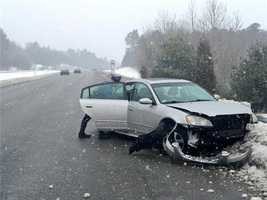 A crash on Route 495 in the Andover area as snow began falling.