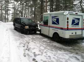 A minor crash between a car and mail truck in Grafton as the storm began