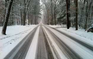 Slippery roads as the storm began in Hingham.