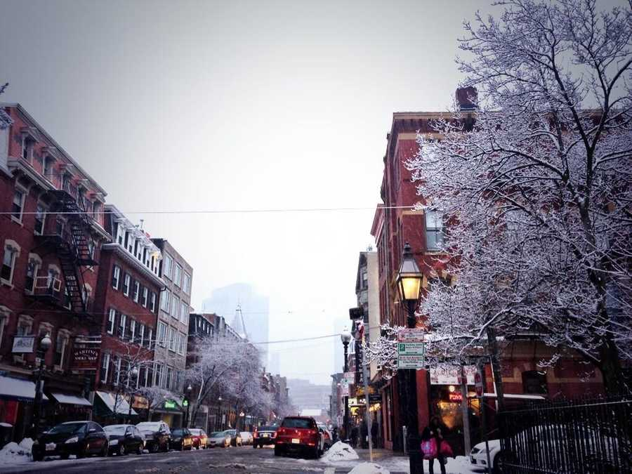 Boston's North End before the storm.