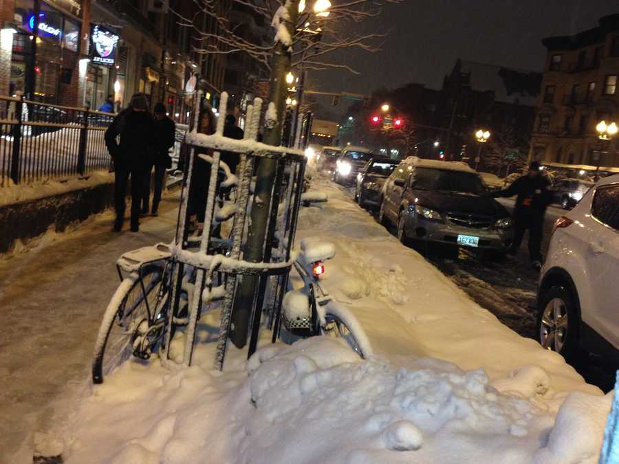 Bikes in snow in Boston