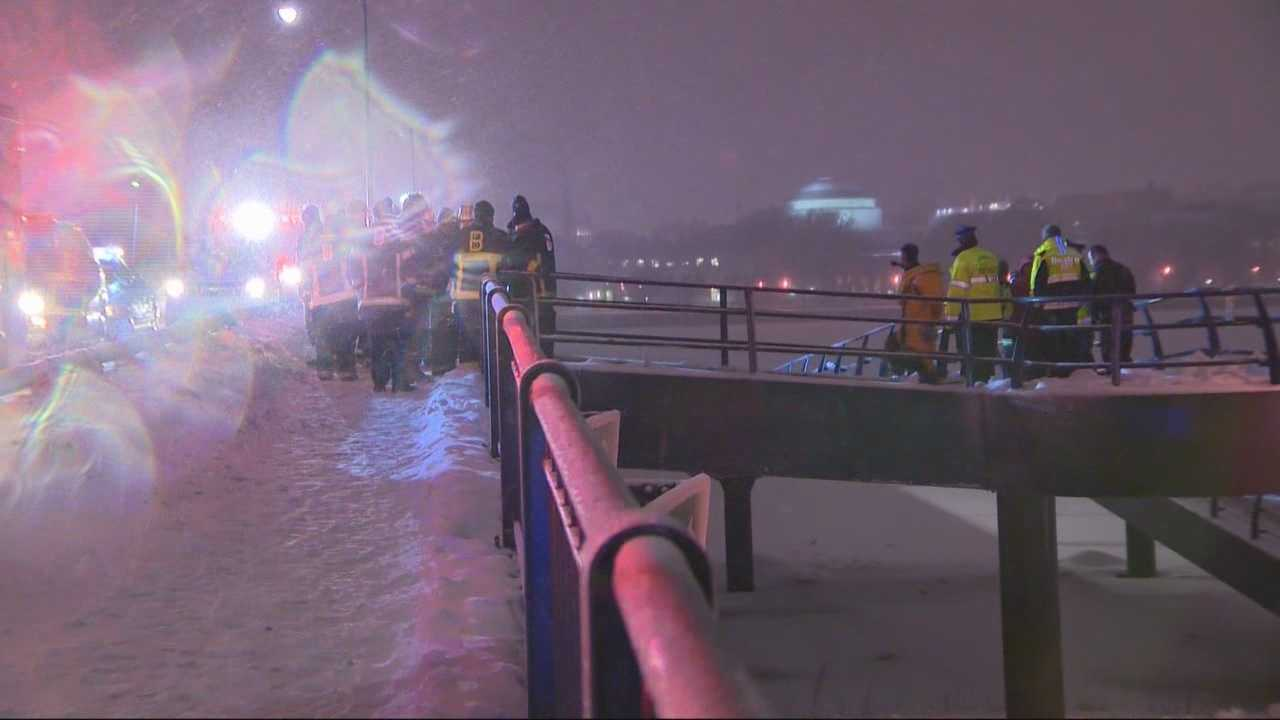 Police are investigating why a man was walking on a frozen section of the Charles River during Saturday night's storm.