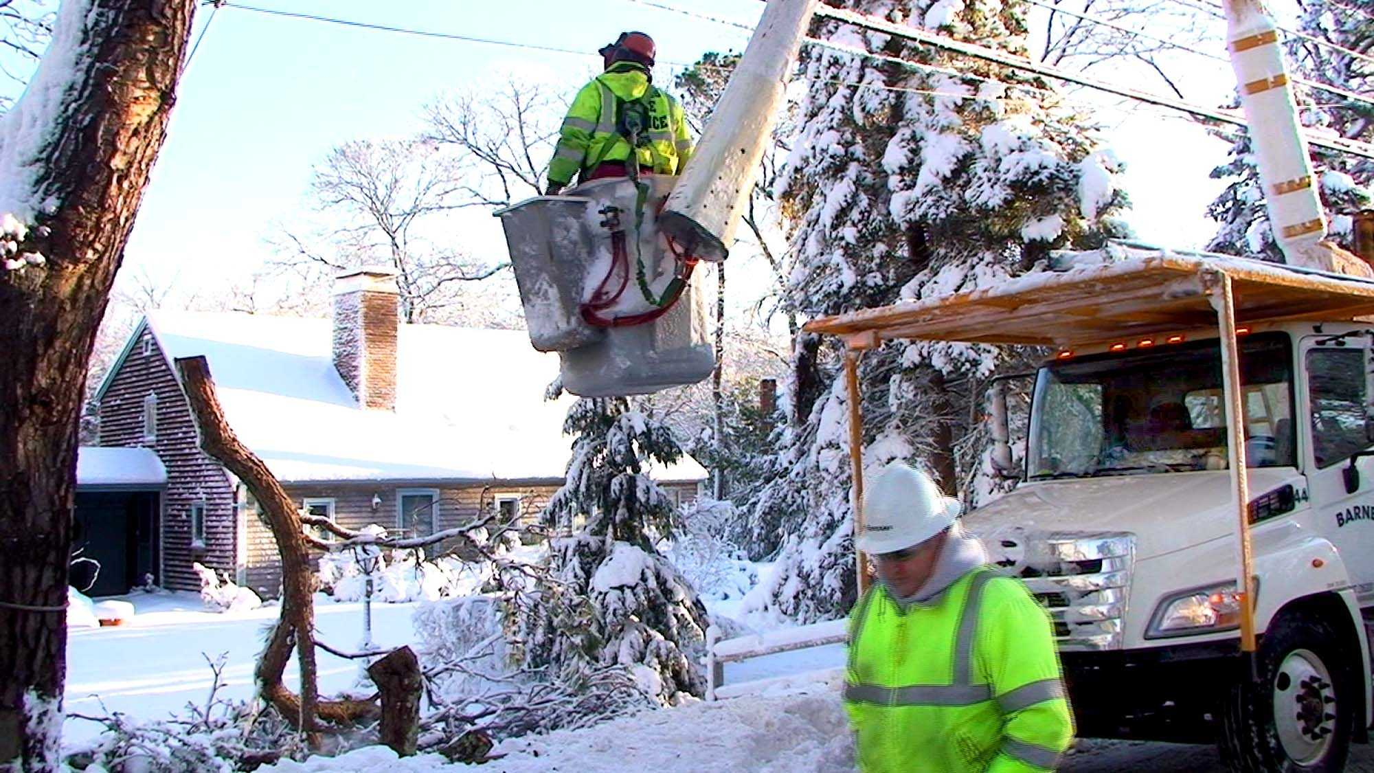 NSTAR crews working in Sandwich Sunday morning.