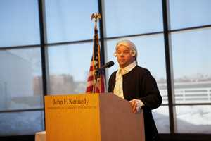"""""""President John Adams,"""" played by Mike LePage, is delivering a speech at the JFK Library and Museum Monday on President's Day."""
