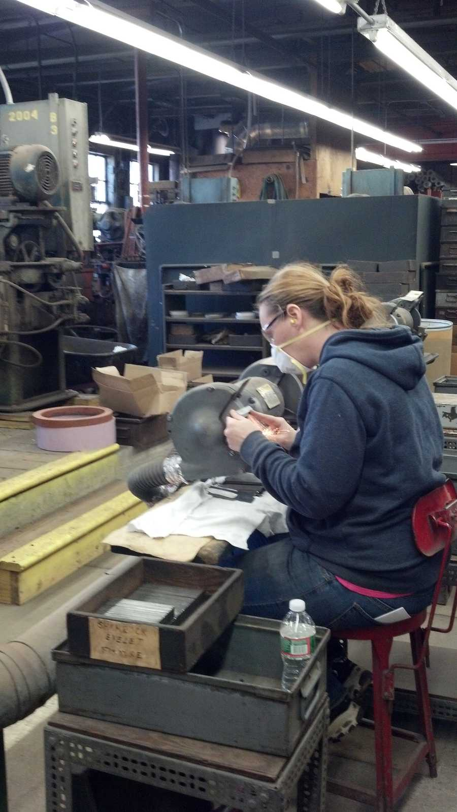 The company has 13 employees. Heather, an employee, is edging a blade.