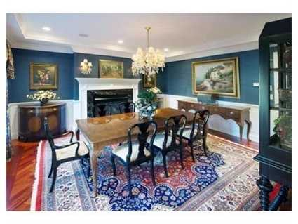 Banquet size dining room with butler's pantry.