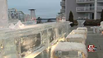 "18,000 pounds of ice are sculpted to become what's been called, ""the hottest, coldest bar in Maine."""