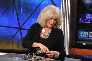 Susan prepares on the NewsCenter 5 set for one of her last news updates.