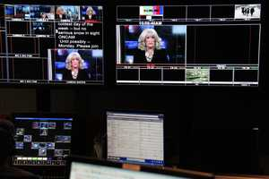 The view in the control room during one of Susan's last news updates.