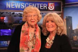 Susan's mother poses with her on-set before the Midday news.
