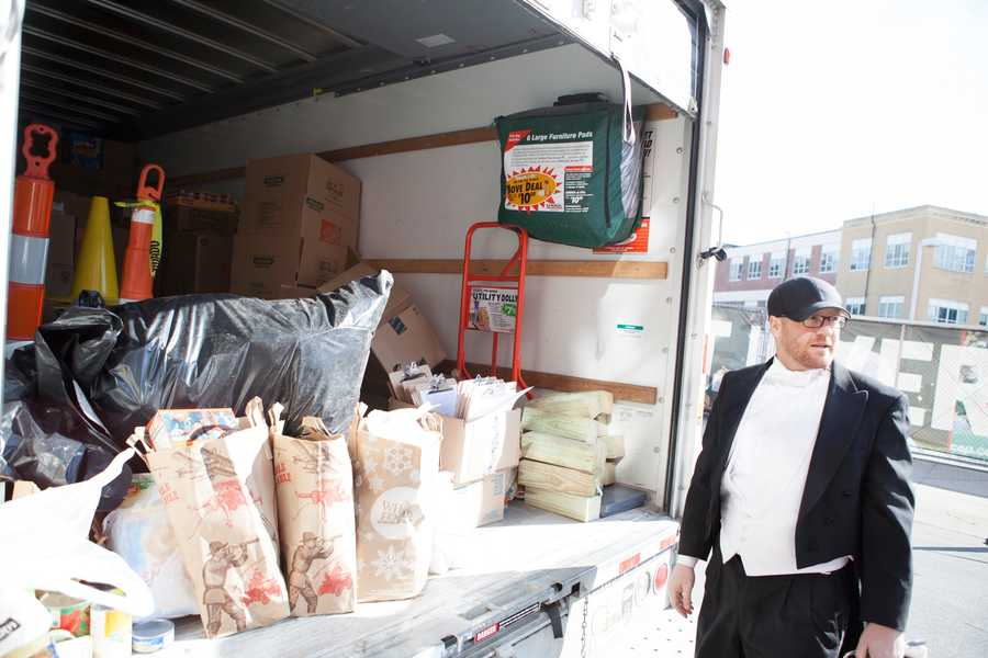 "There is one team that brought 600 pounds of food. ""It breaks the records,"" said Kevin Doran (right), one of the organizers. He started this event with his friend, Tim Jones, to bring something good and different to Boston."