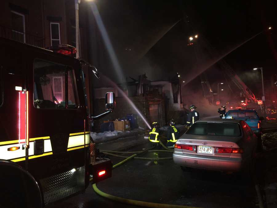The fire broke out at about 4:15 a.m. at 132 Warren St. and quickly grew to seven alarms. The fire caused the three-story building to completely collapse.