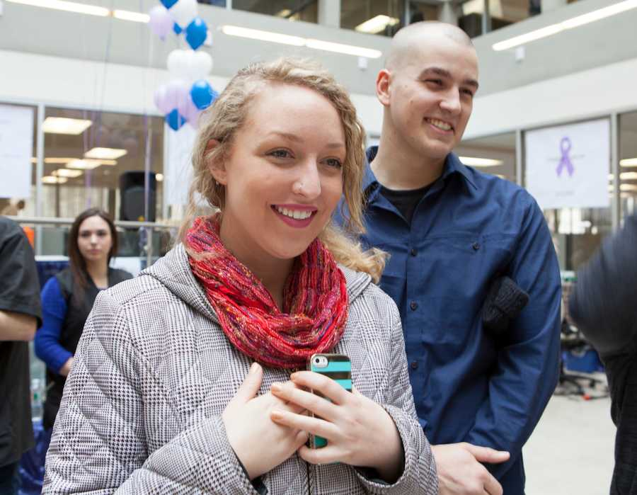 Jenna Coe brought her boyfriend, Edward Craig, to shave his hair instead of hers. He was diagnosed with sarcoma four years ago and survived.