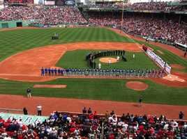 Dozens of first responders and Boston Athletic Association volunteers are honored at Fenway Park, days after two bombs exploded at the finish line of the Boston Marathon.