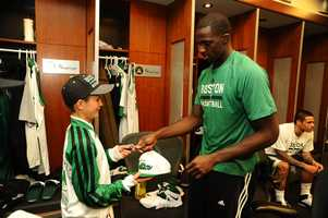Louis was able to meet his favorite players before the game Wednesday night.
