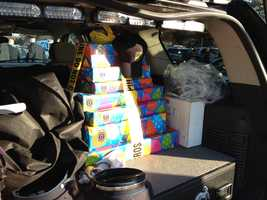 Presents from police officers who gathered in Burlington for Tyler Seddon's birthday.