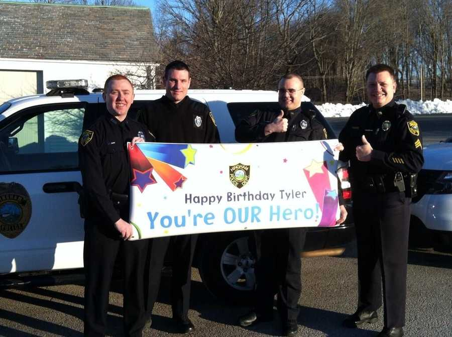 Battling leukemia for a second time, Tyler Seddon turns 7 on Thursday, and the firefighters and police officers he loves so much are coming through for him in a big way. Hingham police officers pose with banner for Tyler.