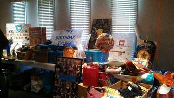 Just a small sampling of the gifts for Tyler.