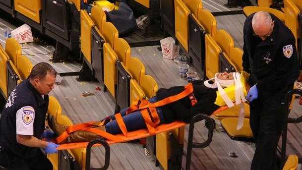 TD Garden net injury Globe picture