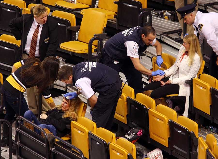 Two women were injured Thursday when netting fell on them at a Bruins game at the TD Garden.  (Photo Courtesy:  John Tlumacki/Boston Globe)