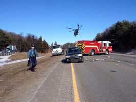 Interstate 495 in Westford was briefly shut down on Sunday afternoon after a rollover crash on the northbound side, state police said.