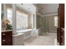 The master suite includes a gorgeous bath.