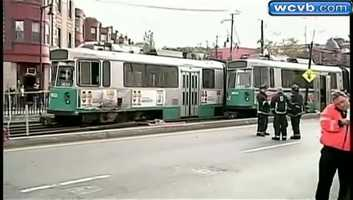 One train had come off the tracks and crashed into the other as they passed.