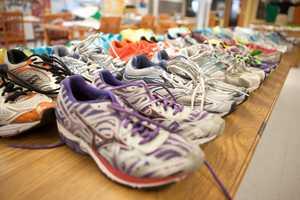 Shoes left near Boylston Street after the Marathon bombing