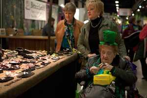 Eleanor Pupa (right), 92, comes to this show almost every year. She dressed up fo Saint Patrick's Day because she remembers the show is always on the weekend of Saint Patrick's Day