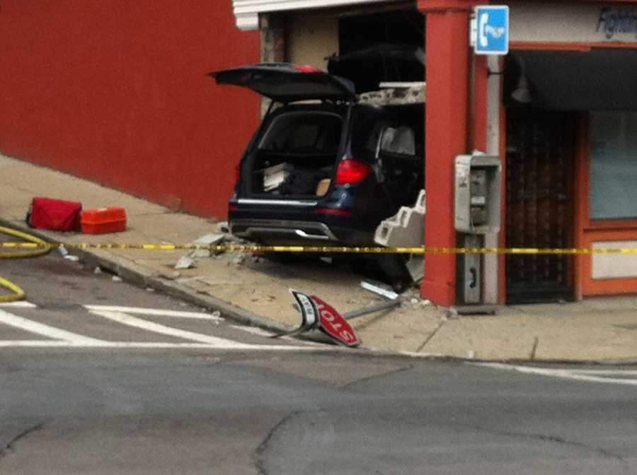 Police are investigating an accident in Dorchester where a vehicle crashed into a building at Blue Hill Avenue and Brunswick Street on Saturday morning.