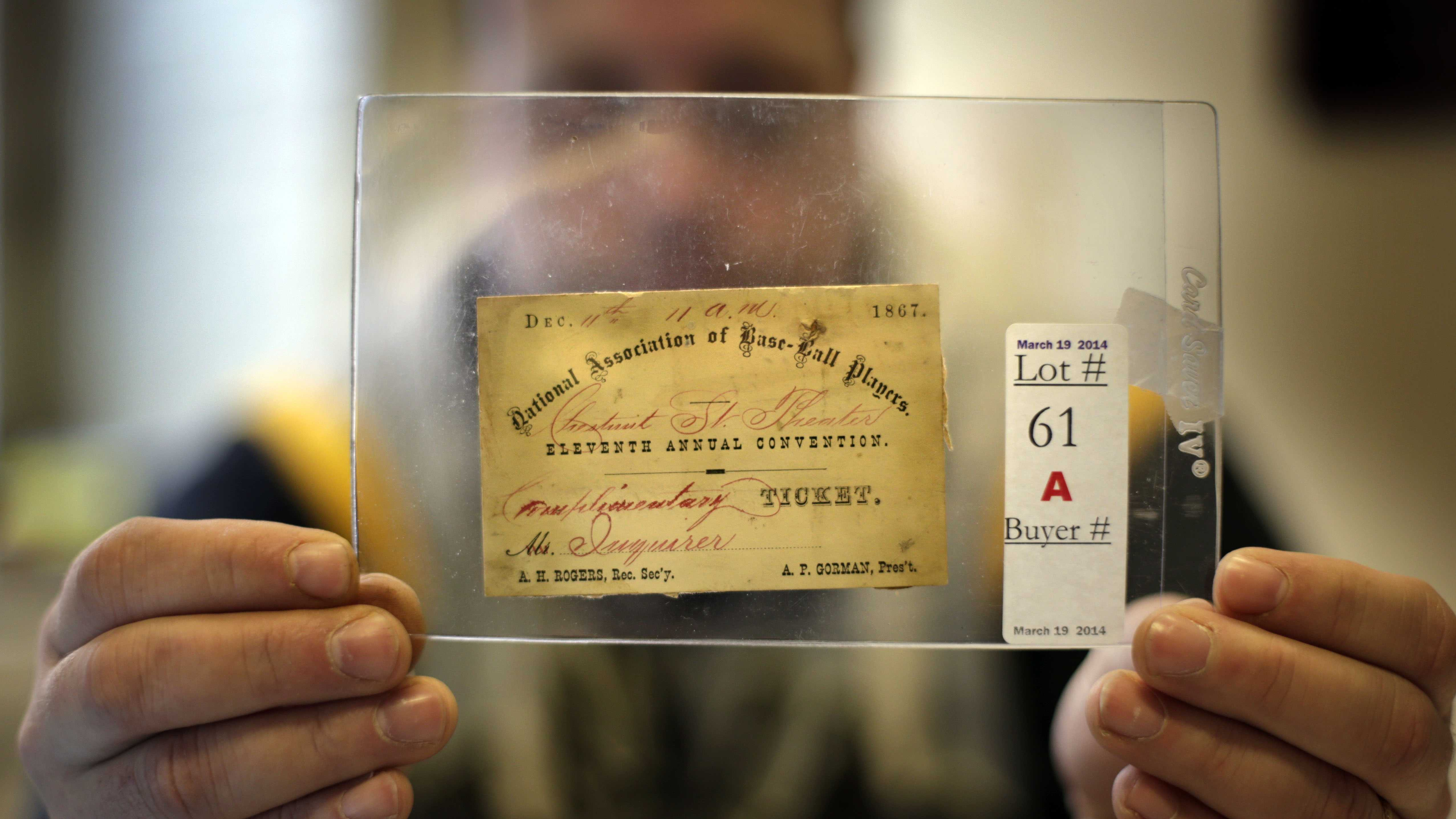 1867 Baseball Convention Ticket