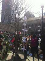 A chain of paper cranes at the memorial in Copley Square.
