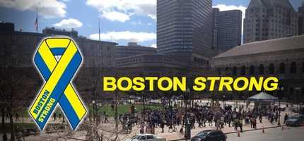 """Image of the Copley Square marathon memorial with the Boston Strong blue and yellow ribbon and """"Boston Strong"""" text overlaid on the picture. Internet meme from a collection of Boston Marathon memes gathered by Elena Agapie."""