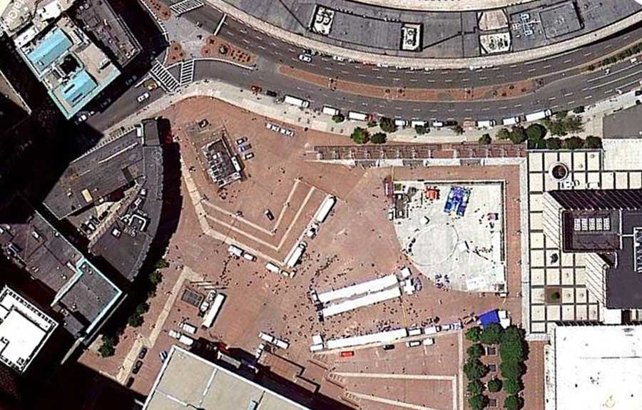 This overhead satellite photo of City Hall Plaza shows the location of the Government Center entrance.