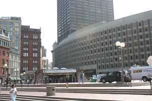 A photo of the existing entrance to the Government Center station at City Hall Plaza.