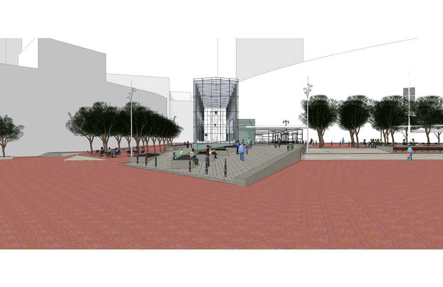 A sketch of the proposed entrance to the station.
