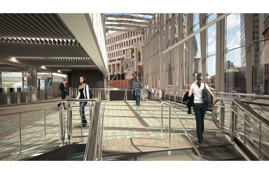A rendering of the proposed Government Center head house area.