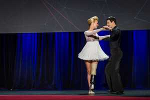 Adrianne Haslet-Davis, 33, performed with the help of an MIT professor and a specially designed prosthetic at the annual TED Conference.