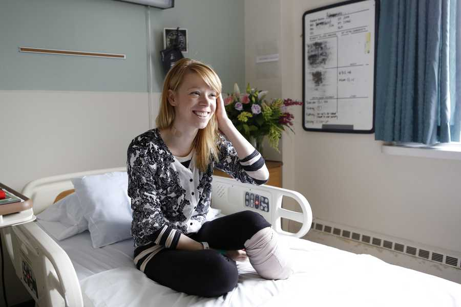 Adrianne Haslet, a dancer injured by one of the bombs that exploded near the Boston Marathon finish line, in her room at Spaulding Rehabilitation Hospital in Boston, Wednesday, April 24, 2013. Nine days after the bombings, Haslet vowed that she would dance again.