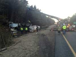 A tanker rolled over on Interstate 95 in Mansfield early Tuesday morning.