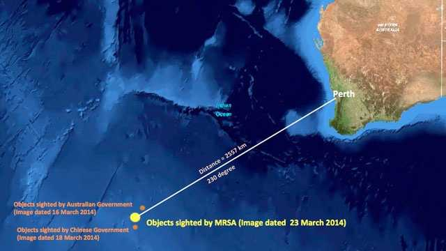 Objects reported by Malaysian Remote Sensing Agency